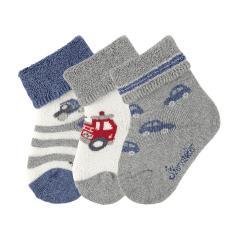 """Baby Jungen Babysöckchen 3er-Set Plüsch Socken """"Autos Feuerwehr"""", silbergrau - 8401921"""