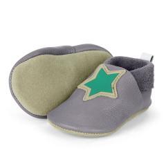 """Baby-Schuhe Jungen Krabbelschuhe aus 100% Leder mit Gummizug """"grüner Stern"""", eisengrau - 5201906"""