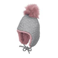 Mädchen Mütze Inka-Mütze zum Binden mit Ohrenschutz, mit Bommel aus Pelzimitat, glänzend, grau - 4411822
