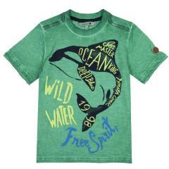 Boboli Jungen T-Shirt kurzarm mit Orca-Motiv, grün - 517058