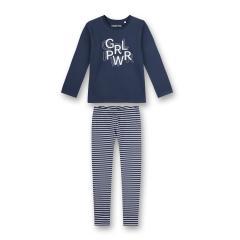Mädchen Winter Schlafanzug langarm gestreift Ringel GRL-PWR Schriftzug, dunkelblau - 244830