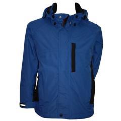 Regenjacke Jungen 3.000mm Wassersäule wasserdicht Überjangsjacke, blau-schwarz