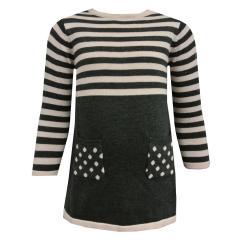 Mädchen Kleid Langarm Strickkleid, grau - 973107