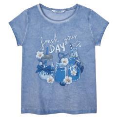 "Mädchen T-Shirt kurzarm ""refresh your Day"", blau -3015b"