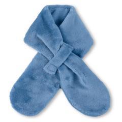 Jungen Baby Winter-Schal Plüsch mit Baumwollfleecefutter und Klettverschluss einfarbig, mittelblau - 4201600