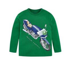 Jungen Shirt mit langen Ärmeln und Motorradmotiv, grün - 4.010g