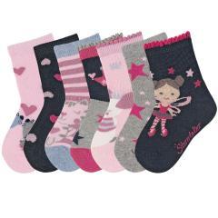 """Mädchen Söckchen 7er Box Baumwoll-Socken mit Glitzer, rosa marineblau """"Krone Maus Katze Fee Herzen Sterne"""" - 8421952"""