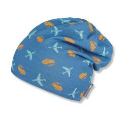 Jungen Sommermütze zum Wenden, Slouch-Beanie, UV-Schutz 50+, blau mit Motiv - 1611963