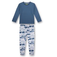 Jungen Winter Schlafanzug langarm Camouflage Look, blau-weiß - 244786