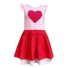 Mädchen Sommerkleid Baumwolle Rosenherz, pink - 981521