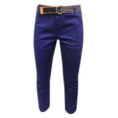 Jungen festliche Hose Stoffhose mit Gürtel, blau - 3503b
