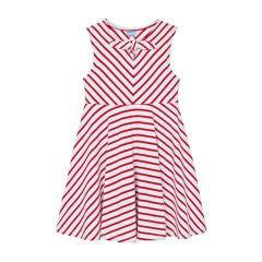 Mädchen Kids Sommerkleid festlich gestreift mit Schleife und Glanzfäden, rot/weiß - 3938