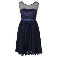 Festliches Chiffon-Kleid mit Stola, Mesh und Stickerei an der Vorderseite, durchsichtige Träger, Mädchen, dunkelblau - 1372700db
