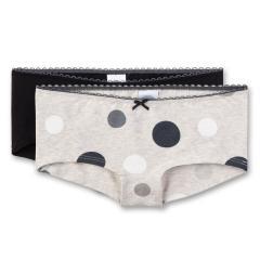 Mädchen Cutbrief Unterhosen 2er Pack, schwarz grau mel. - 345709