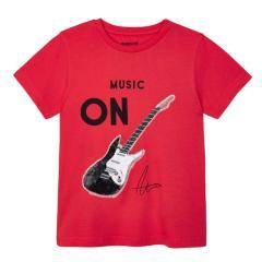 """Jungen kurzarm T-Shirt mit leuchtenden Pailletten """"Gitarre"""", rot -3048"""