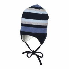 Baby Jungen Mütze Wintermütze Strickmütze gestreift zum Binden mit Ohrenschutz Fleecefutter, marine - 4701844