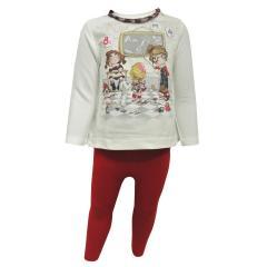 Baby Mädchen Zweiteiler T-Shirt mit Leggings, rot