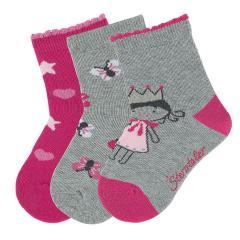 Mädchen Socken 3er-Pack, grau pink Schmetterling Prinzessin Herz - 8321923