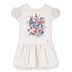 Mädchen Winterkleid Kleid Pullover Kleid mit Tüll, beige - 4949