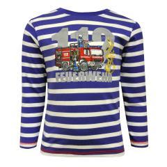 Kids Jungen Langarmshirt Shirt gestreift Feuerwehr, mittelblau - 65111145
