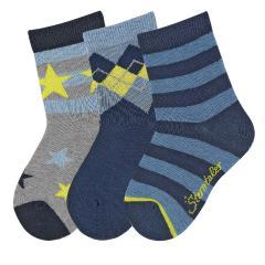 "Jungen Söckchen Baumwoll-Socken im 3er Pack, silbergrau mel. blau ""gestreift Sterne"" - 8421920"