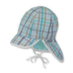 Schirmmütze mit Nacken- und Ohrenschutz zum Binden Jungen kariert, eukalyptus - 1611830