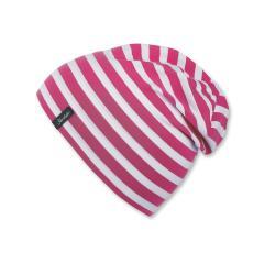 Slouch-Beanie Mütze Mädchen gestreift, magenta - 1521700