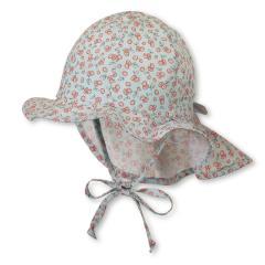 Mädchen Sommermütze zum Binden mit Nackenschutz, Flapper UV-Schutz 30, mintgrün Blümchen - 1401922