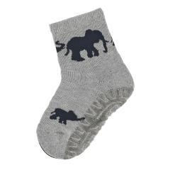"""Jungen Anti-Rutsch-Socken Fliesen Flitzer Air """"Elefanten"""", silbergrau - 8032008"""