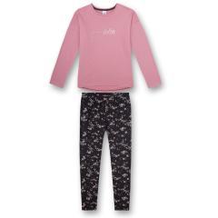 """Mädchen Schlafanzug Langarmshirt """"RELAX""""-Schriftzug und lange Hose gemustert """"Blüten""""-Alloverprint , rosa - 245114"""