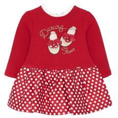 """Baby Mädchen Kleid langarm Winterkleid mit Reißverschluss und Rüschenkragen, rot gepunktet """"Ballettschuhe"""" - 2.919"""