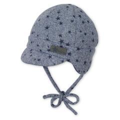 Jungen Baby Schirmmütze zum Binden, Erstlingsmütze, blaugrau - 4601912