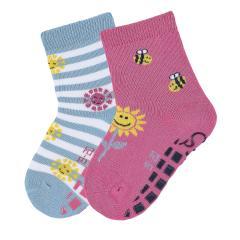 """Mädchen Anti-Rutsch-Socken 2 Paar ABS-Söckchen Doppelpack """"Sonne"""", pink - 8002022"""