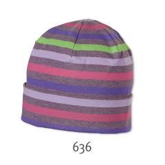 Slouch Beanie Mütze Mädchen gestreift, lila - 1521602