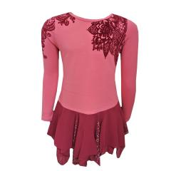 Langarmkleid Mädchen Blumen Stickerei, pink