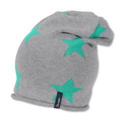 Mütze Mädchen Beanie Sternenmuster Strickmütze, Grau