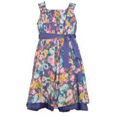 Mädchenkleid mit Blumen-Motiven, dunkelblau