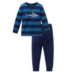 Jungen Schlafanzug zweiteilig Capt'n Sharky gestreift, dunkelblau - 163166