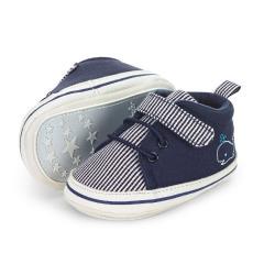"""Jungen Kinder Baby Schuhe Krabbelschuhe mit Klettverschluss und rutschfester Sohle für innen und außen """"Wal"""", marineblau – 2302025"""
