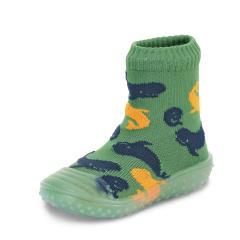 "Jungen Kinder Anti-Rutsch-Socken Adventure-Socks Socken-Schuh-Kombination ""Delfine"", gruen - 8362102"