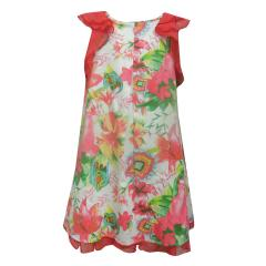 Mädchenkleid Sommerkleid gemustert, coral