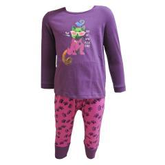 Mädchen Schlafanzug langarm mit Katzenmotiv, violett
