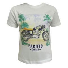 Baby Jungen T-Shirt Kurzarmshirt Motorrad, weiß - 1033w