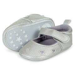 Baby Mädchen Schuhe Sandalen Krabbelschuhe Herzchen, Kunstlederoptik, grau - 2301906