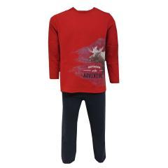 Langarm Schlafanzug Jungen mit Elch Motiv, rot