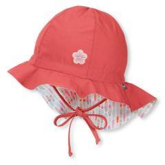 Mädchen Sommermütze zum Binden mit Nackenschutz, Flapper LSF 50+, rot, Blume- 1411910