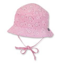 Baby Mädchen Fischerhut Sonnenhut Mütze zum binden glitzernde Blumen, rosa - 1401812