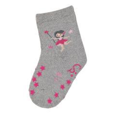 """Baby Mädchen Krabbel-Söckchen gefüttert Anti-Rutsch-Socken Strümpfe mit rutschfester ABS-Sohle """"Fee"""", silbergrau - 8111903"""