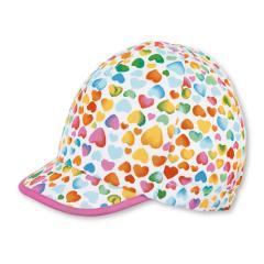 """Mädchen Baby Schirmmütze Cap Cappi Sonnenhut mit LSF UV-Schutz 15 """"bunte Herzen"""",  weiß – 1412031"""