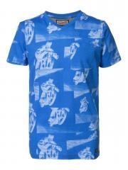 T-Shirt Jungen Kurzarm gemustert, blau - B-SS17-TSV698